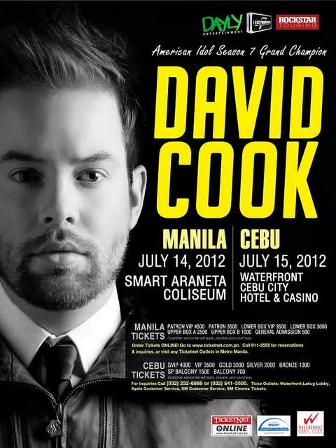 david cook live in manila and cebu