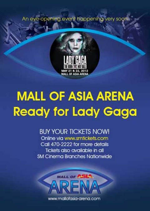 Lady Gaga Live in Manila Tickets on May 21 and 22, 2012 at 0% Interest