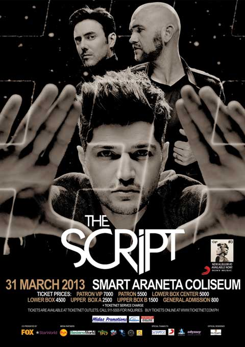 The Script Live in Manila on March 31, 2013 at the Smart Araneta ...