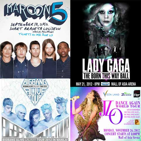 Top Twelve Most Popular Concerts in 2012