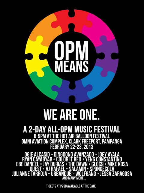 OPM Means, We are One – 2-day OPM Music Festival