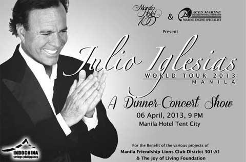 2013, 7pm at Manila Hotel Tent. Julio Iglesias World Tour Manila 2013 ...