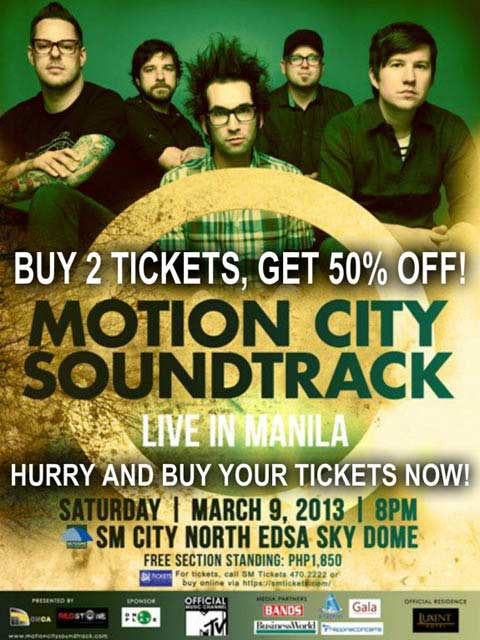 Motion City Soundtrack Live in Manila Discount Tickets