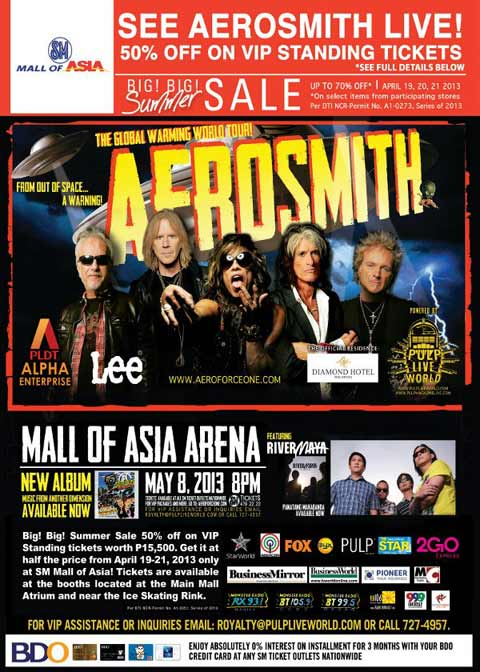 Aerosmith Live in Manila Discounted Tickets