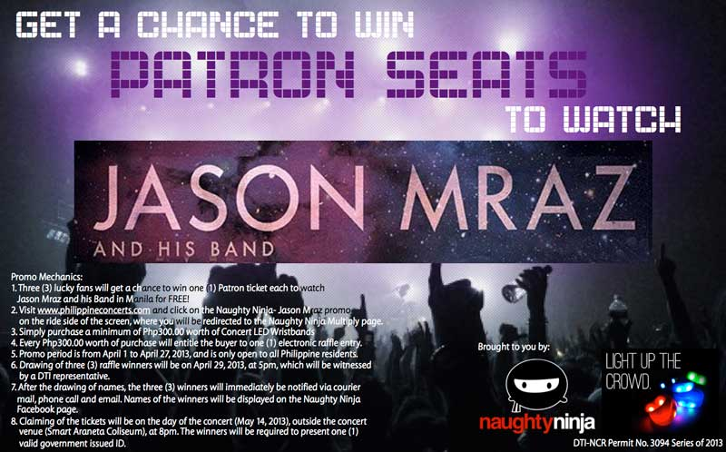 Get a chance to win Patron seats to watch Jason Mraz