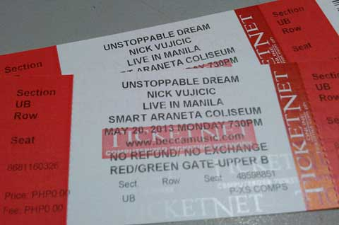 Nick Vujicic Live in Manila Ticket Promo Winners