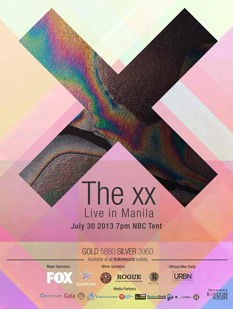 The xx Live in Manila on July 30, 2013,7pm at the NBC Tent, Taguig.