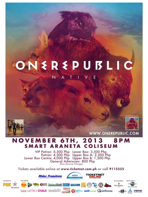 Win Tickets to watch OneRepublic Live in Manila