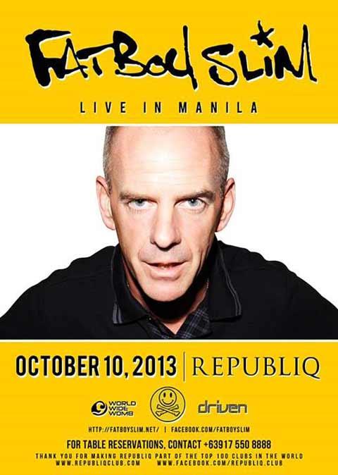 Fatboy Slim Live in Manila on October 10, 2013, 10pm at Republiq Club