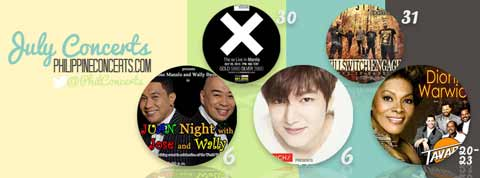 Concerts for July 2013 includes Lee Min Ho, Dionne Warwick, The xx and Killswitch Engage