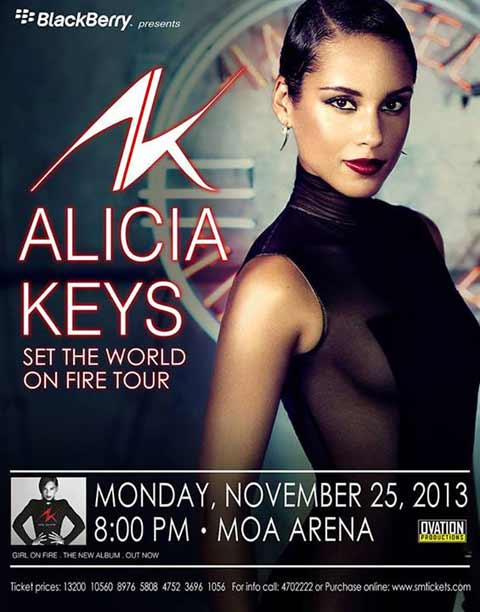 Alicia Keys Live in Manila on November 25, 2013, 8pm at the Mall of ...