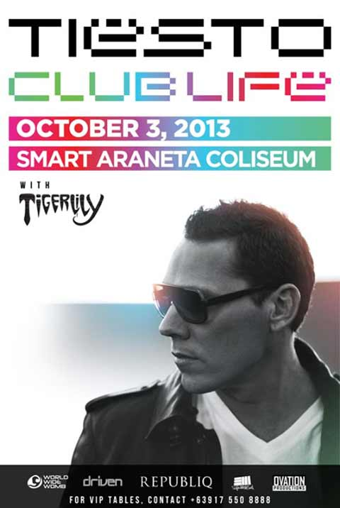 Tiesto Live in Manila on October 3, 2013 at the Smart Araneta Coliseum ...