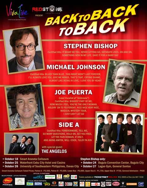 Michael Johnson, Stephen Bishop and Joe Puerta Back to Back to Back Concert