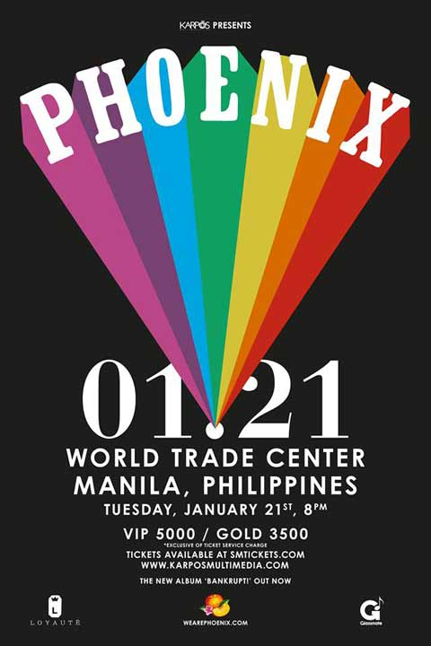 Phoenix Live in Manila on January 21, 2014, 8pm at the World Trade ...