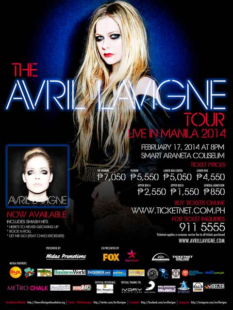 Win Tickets to watch Avril Lavigne Live in Manila 2014