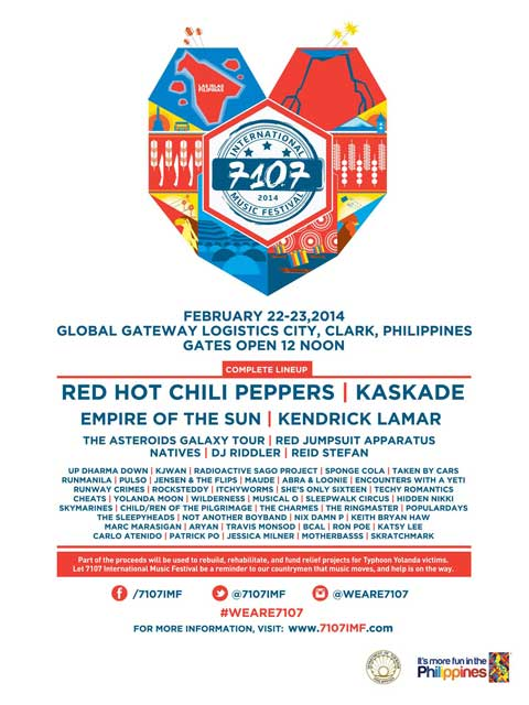 RHCP, Kaskade to Headline 7107 International Music Fest