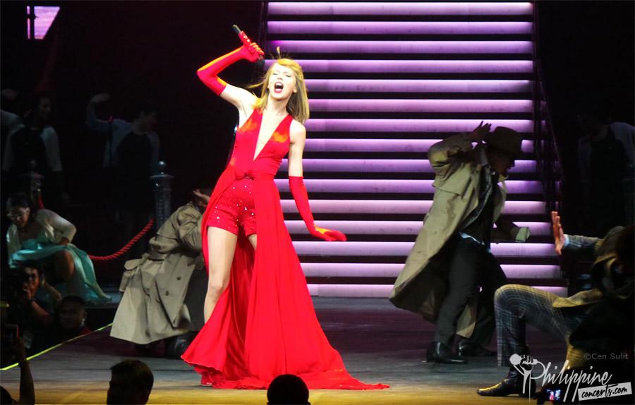 Taylor Swift in Bright, Burning Red in Manila