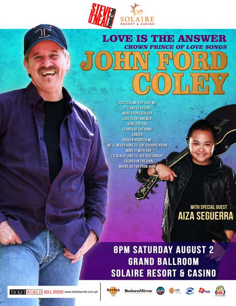 John Ford Coley Live at  Solaire Resort 2014