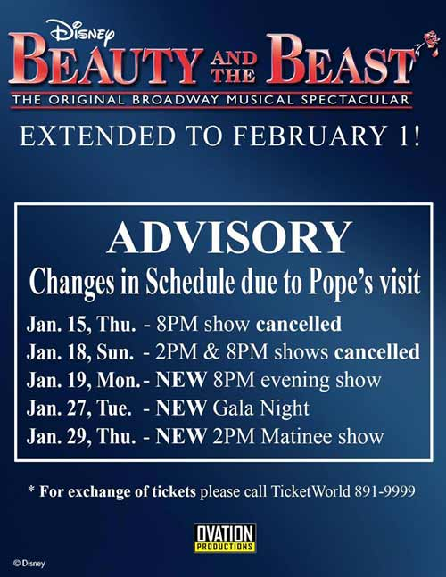Beauty and the Beast Musical Advisory