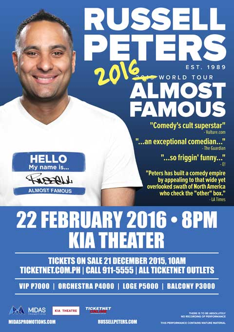 Russell Peters Almost Famous World Tour 2016