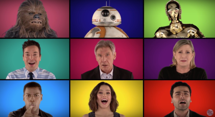 The Force Awakens Cast sings a capella version of Star Wars Theme Song Video