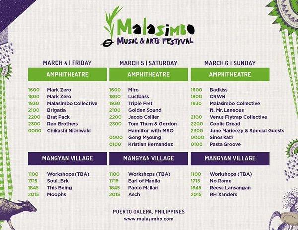 Malasimbo Festival 2016 Line-up