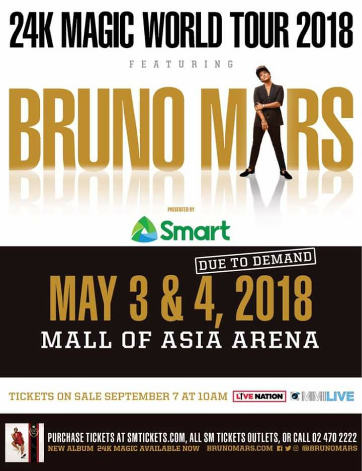 MMI Live Announced DAY 2 for Bruno Mars' 24K Magic Tour in Manila!