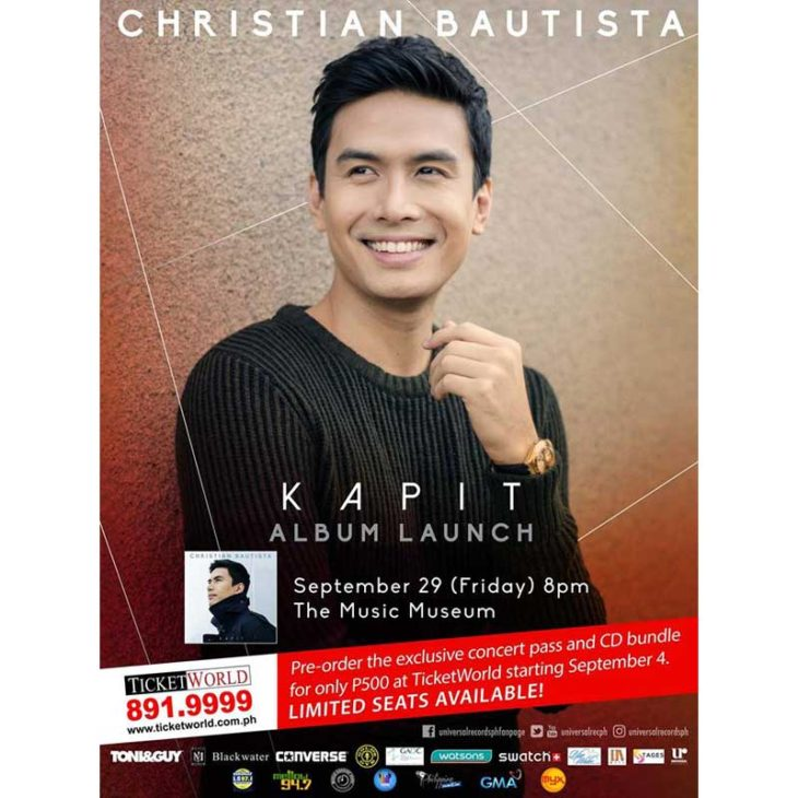 "Christian Bautista Launches Much Awaited album ""Kapit"" on  September 29 at the Music Museum!"