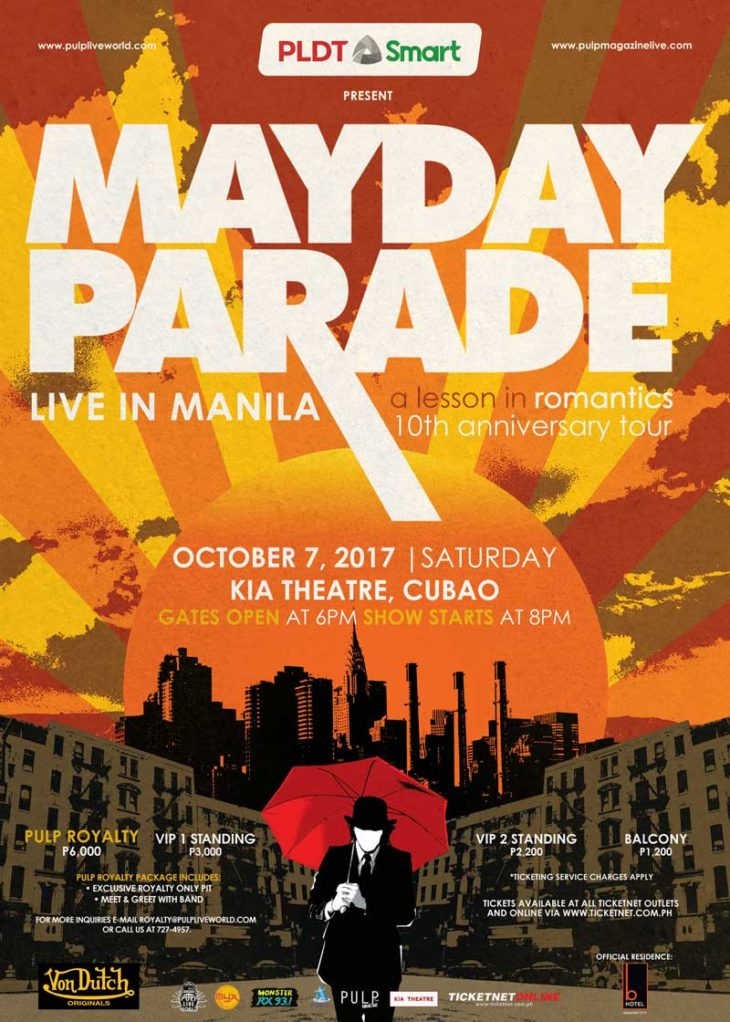 "Mayday Parade to Celebrate the 10th Anniversary of Debut Record ""A Lesson in Romantics"" with Manila Fans"