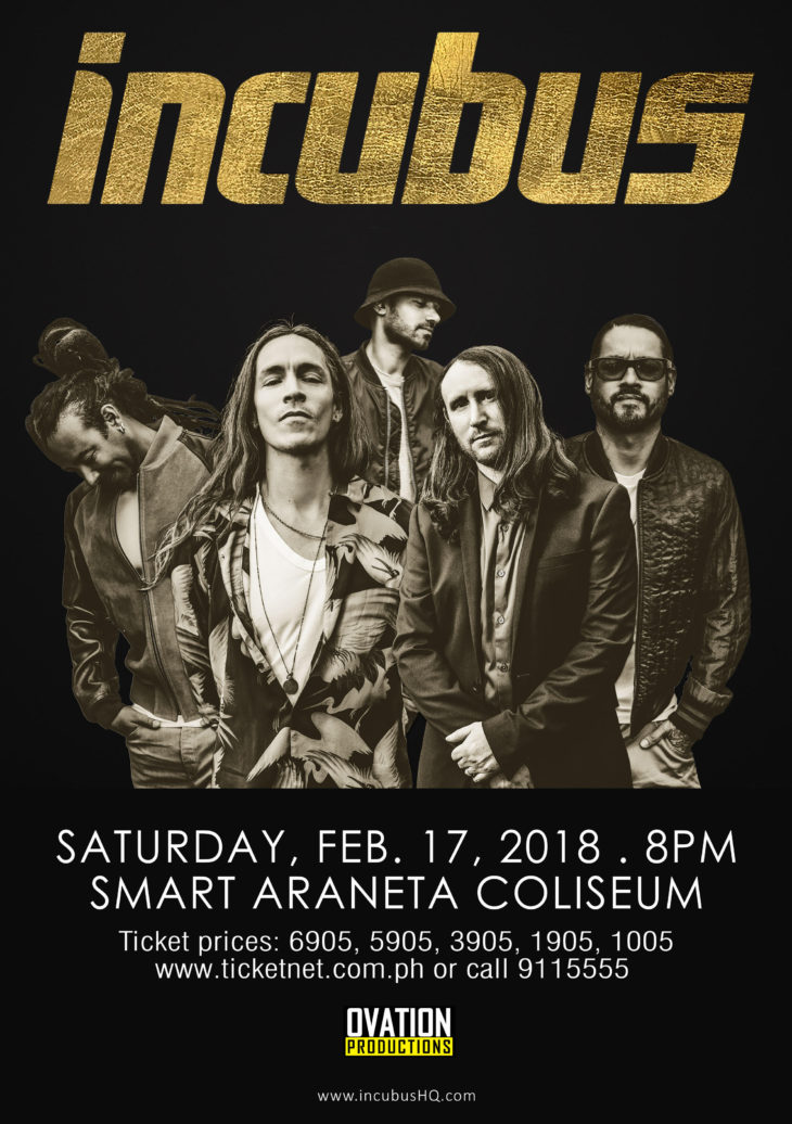 Incubus Returning To Manila in 2018