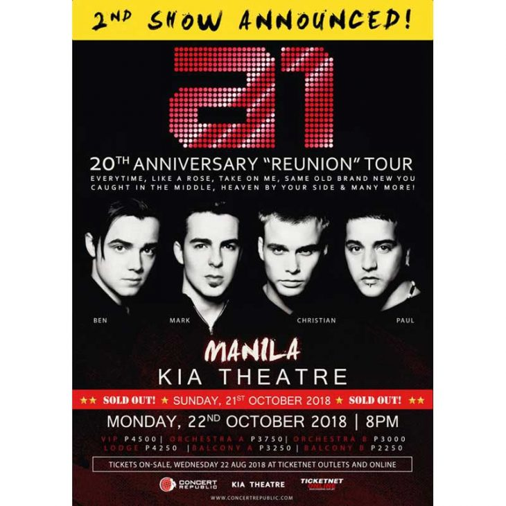"""A1 20th Anniversary """"Reunion"""" Tour – A Second Show is Added in Manila!"""