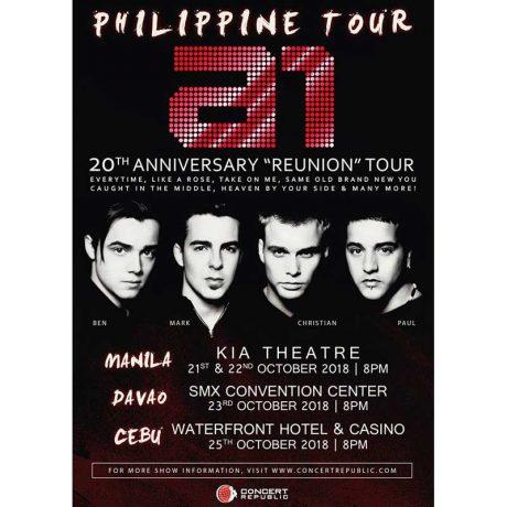 A1 Live in Manila, Davao Cebu 2018