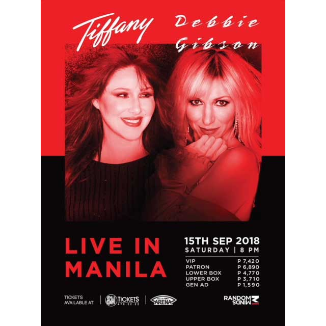 80s Pop Music Icons Tiffany and Debbie Gibson bring the Party – and the Memories – Back to Manila this September 2018
