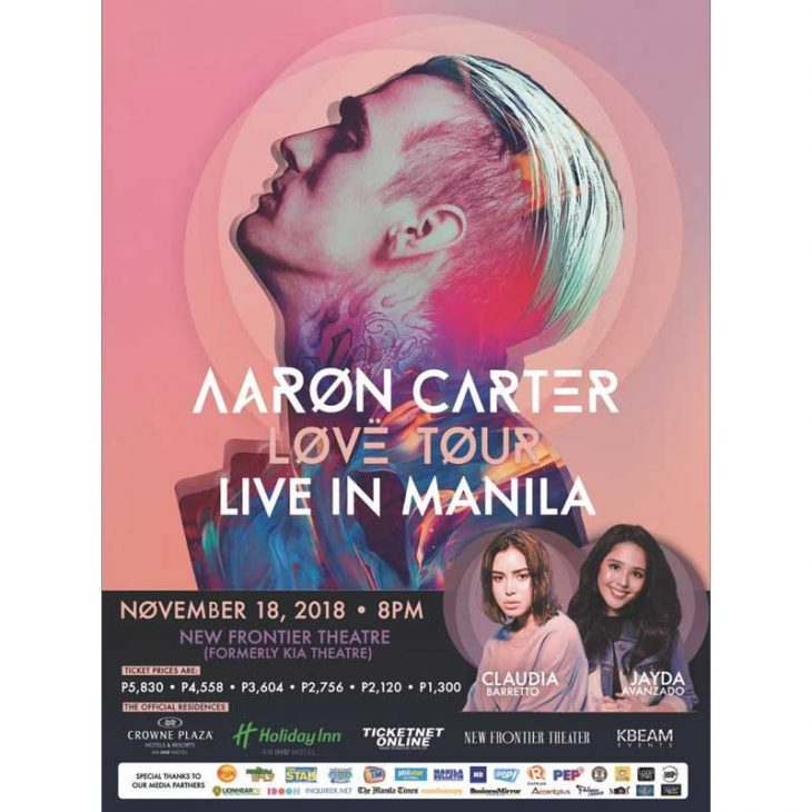 Aaron Carter Brings the LØVË Tour to Manila Featuring Our Very Own Jayda Avansado and Claudia Barretto!